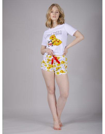 """Пижама """"Пицца 3"""" шорты, трикотаж"""